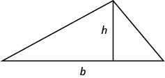 Image of a trangle. The horizontal base side is labeled b, and a line segment labeled h is perpendicular to the base, connecting it to the opposite vertex.