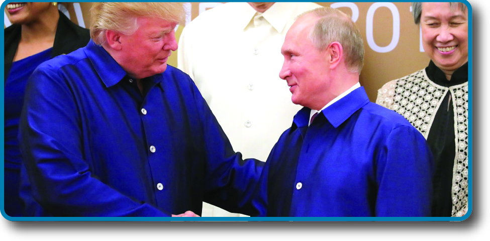 An image of Donald Trump and Vladimir Putin shaking hands.