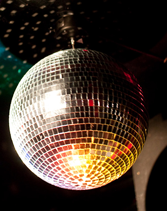 This figure shows a disco ball suspended from a ceiling.