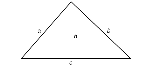 A triangle with sides labeled: a, b and c.  A line runs through the center of the triangle, bisecting the top angle; this line is labeled: h.