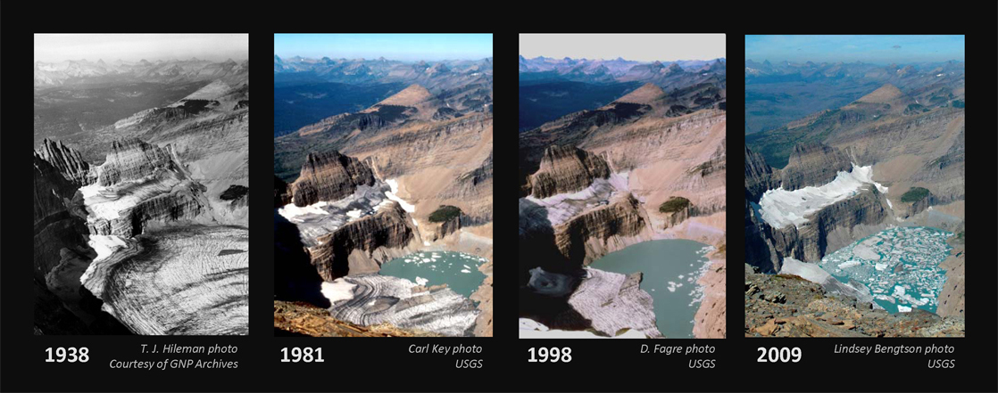 A series of photos shows the Grinnel Glacier in the years 19 38, 19 81, 19 98 and 2009. In 19 38, the lake beneath the glacier was completely frozen. In 19 81, about one-third of the lake was thawed. In 19 98, two-thirds of the lake was thawed. In 2009, it was covered with chunks of ice, but otherwise it was completely thawed. At the same time, the glacier itself has steadily receded.