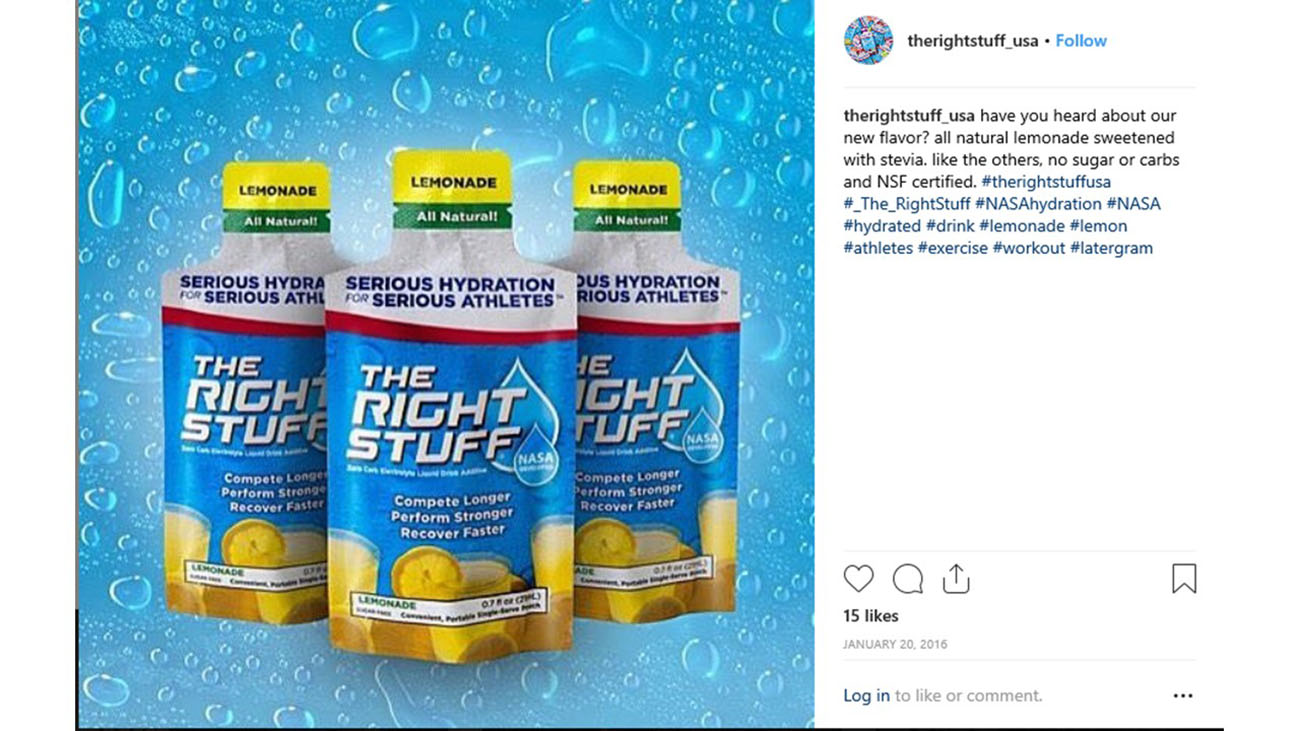 "A photo shows the screenshot of a social media page, promoting ""The Right Stuff"" electrolyte."