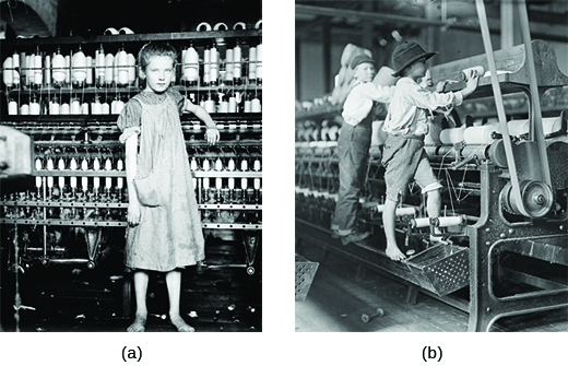 Photograph (a) shows a thin, shabbily dressed, barefoot girl standing in front of a large spinning machine. Photograph (b) shows two small boys standing on a spinning machine; one is barefoot.