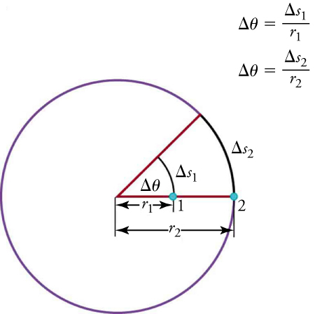 The picture shows a circle with a radius r2 going from the center, through a point 1 half-way on the radius and point 2 on the circumference. The distance from center to point 1 is labeled r1. A second radius line is drawn with an angle of change in theta. The arc from point 1 to the second radius is labeled change s1. The arc at point 2 is labeled change s2. There are two formulas to the right of the diagram: theta is equal to change of s1 over r1 and theta is equal to change of s2 over r2.