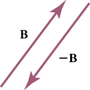 Two vectors are shown. Vector B points upward at an angle. Vector negative B is parallel to vector B and points downward.