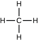 Methane is drawn with a C in the center. Four lines project from the C in 4 different directions, there is an H at the end of each line.