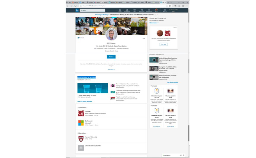 A photograph shows Bill Gates' LinkedIn profile page.