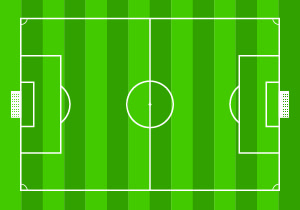 The figure is an illustration of rectangular soccer field.