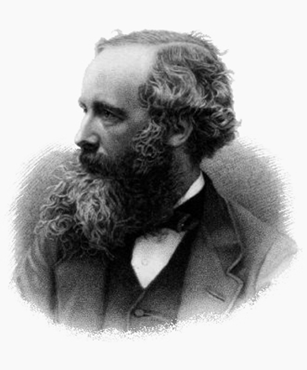 This black and white engraving shows physicist James Clerk Maxwell as a Victorian era gentleman dressed in bowtie, vest, and jacket, and sporting a full, graying beard and moustache.