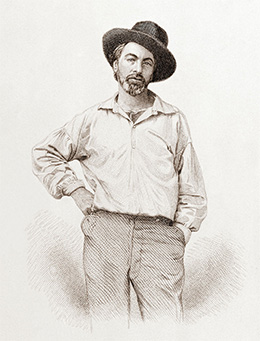 An engraving shows Walt Whitman in a casual, relaxed pose, with one hand on his hip and the other in his pocket. He wears a loose shirt, trousers, and a hat that sits crookedly on his head.