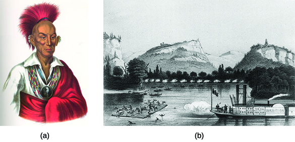 "Portrait (a) depicts Sauk chief Black Hawk. Engraving (b) shows U.S. soldiers on a steamer labeled with the name ""Warrior"" firing on Indians aboard a raft on a river."
