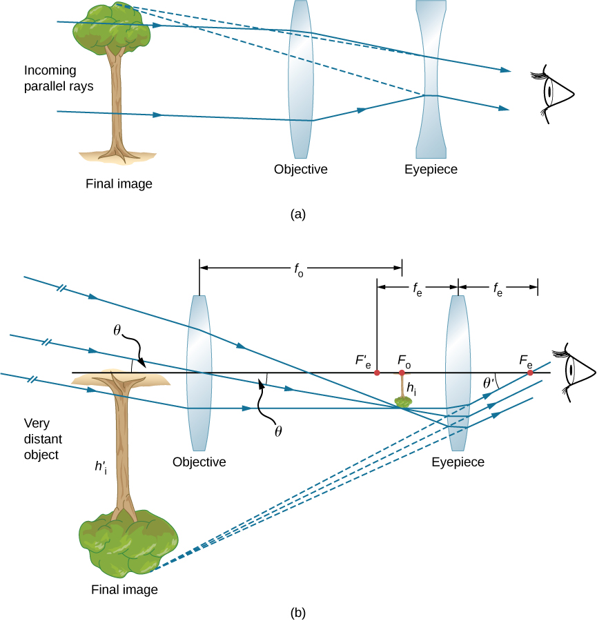 Figure a shows incoming parallel rays from the left entering a bi-convex lens labeled objective. From here, they deviate towards each other and enter a bi-concave lens labeled eyepiece, through which they reach the eye of the observer. The back extensions of the rays reaching the eye converge to the far left at the upright image of a tree, labeled final image. Figure b shows incoming rays at an angle theta to the optical axis entering a bi-convex lens labeled objective from the left of the figure. They converge on the other side at the focal point of the objective to form a tiny, inverted image of a tree. They travel further to enter a bi-convex lens labeled eyepiece. They deviate from here to enter the eye. The rays reaching the eye make an angle theta prime with the optical axis. Their back extensions converge to the far left at an enlarged, inverted image of the tree, labeled final image.