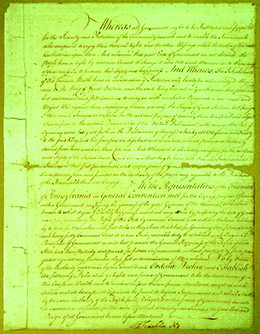 The first page of the 1776 Pennsylvania constitution is shown.