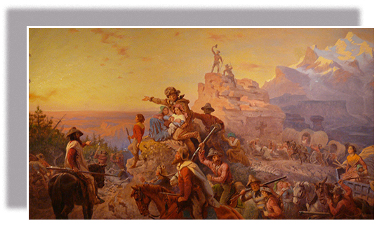 A painting of westward expansion shows pioneer men, women, children, and mountain guides, both mounted and riding in wagons. The group heads west; several men point and gaze in the direction of their destination. The travelers are surrounded by a dramatic mountain landscape.