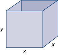 A box with square base is shown. The base has side length x, and the height is y.