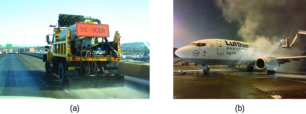 This figure contains two photos. The first photo is a rear view of a large highway maintenance truck carrying a bright orange de-icer sign. A white material appears to be deposited at the rear of the truck onto the roadway. The second image is of an airplane being sprayed with a solution to remove ice prior to take off.