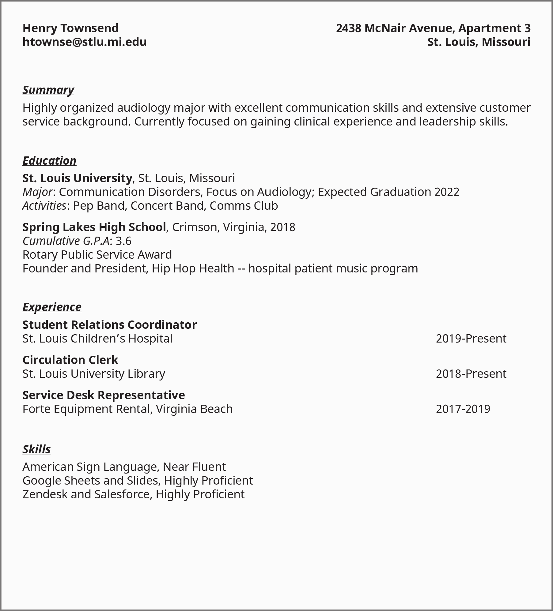 "An image shows a sample resume from a college student listing details under the heads ""Summary,"" ""Education,"" ""Experience,"" and ""Skills."""