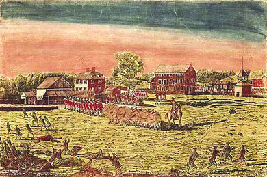 An engraving shows troop movements and fighting at the Battle of Lexington. In an open field with a few buildings in the background, British soldiers in red uniforms stand in lines; clouds of smoke show that some are firing muskets. An officer on horseback points; American soldiers run about the field in a less organized fashion.