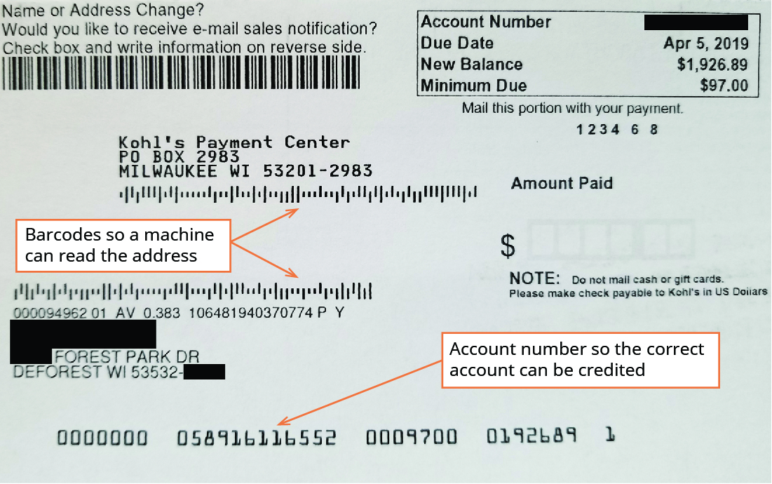 An example of the payment slip that customers return to a company with their payment.