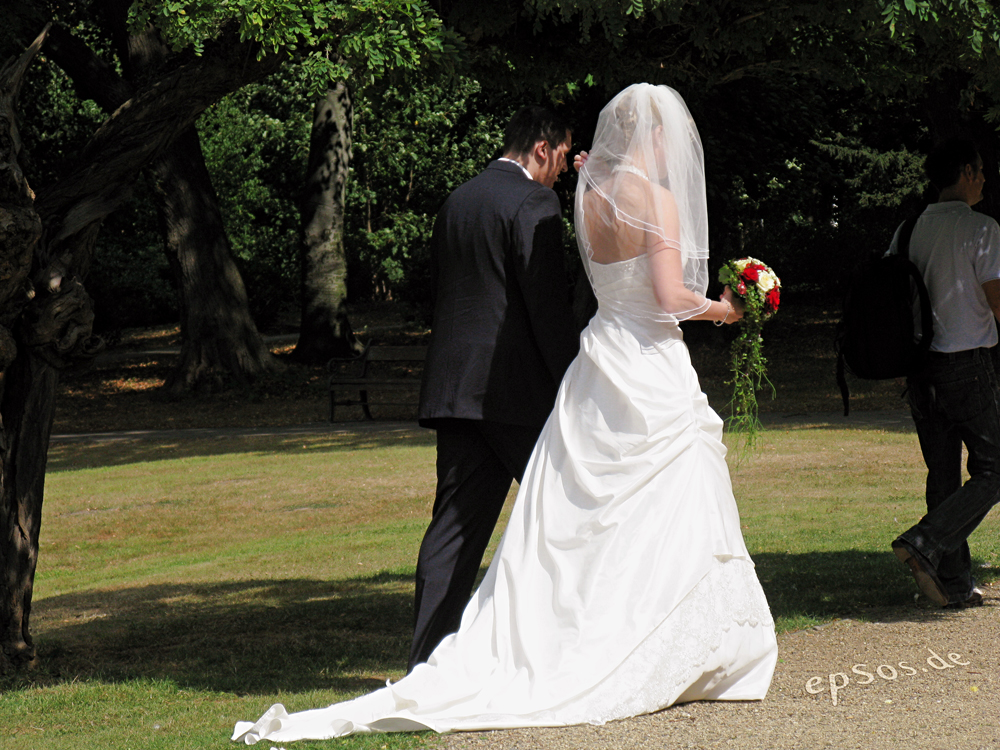 A bride and groom are shown from behind walking in a park setting.
