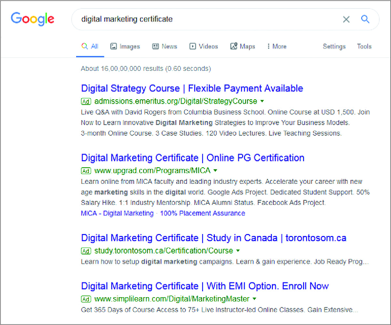 "A list of search results for the phrase ""digital marketing certificate"" on Google."