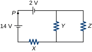 A circuit is shown as a rectangle with an extra line connecting the top and bottom having resistor Y. The top of this circuit has a 2-volt battery to the left of the Y resistor line, the left side of this circuit has a point P marked and then a 14-volt battery, the bottom has a resistor X to the left of the Y resistor line, and the right side has a resistor Z.