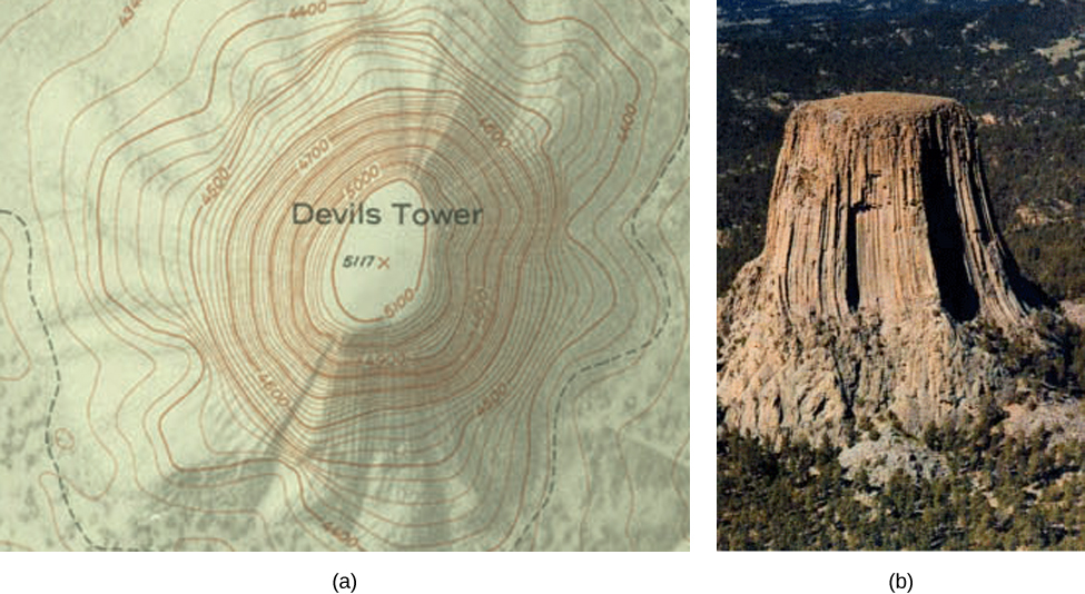 This figure consists of two figures marked a and b. Figure a shows a topographic map of Devil's Tower, which has its lines very close together to indicate the very steep terrain. Figure b shows a picture of Devil's Tower, which has very steep sides.