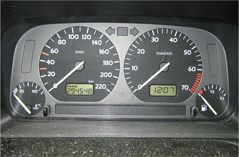 The figure shows photo of fuel and temperature gauges.