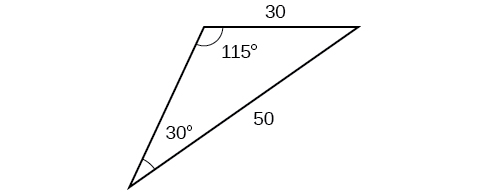 A triangle. One angle is 115 degrees with opposite side = 50. Another angle is 30 degrees with opposite side = 30.