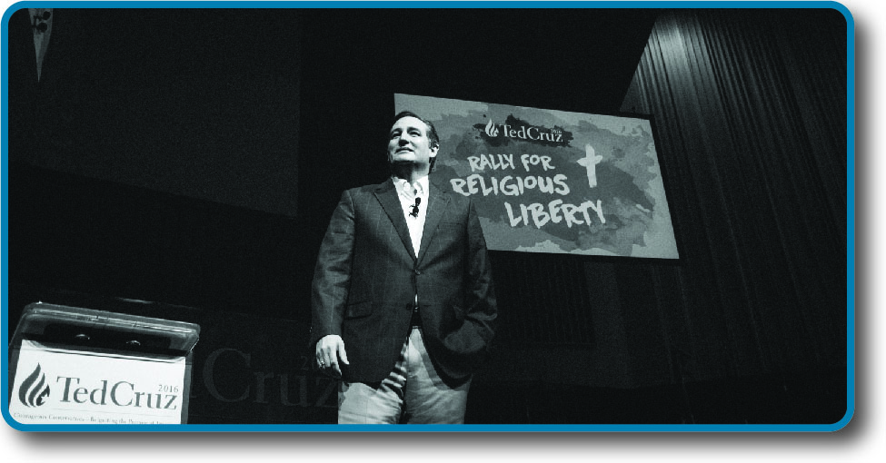 "An image of Ted Cruz standing in front of a sign that reads ""Ted Cruz Rally for Religious Liberty""."