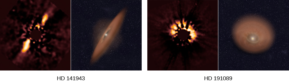 Protoplanetary Disks of HD 141943 and HD 191089. At left is shown an image of HD 141943. The central star has been blocked so the light from the disk can be photographed. A narrow, elliptical shaped region can be seen. To the right of the image is a computer model of the disk, showing the central star, drawn to the same scale as the image. On the right is HD 191089. Its central star is also blocked. The image shows a circular region of light. Also shown is a computer model of the disk, at the same scale as the image.