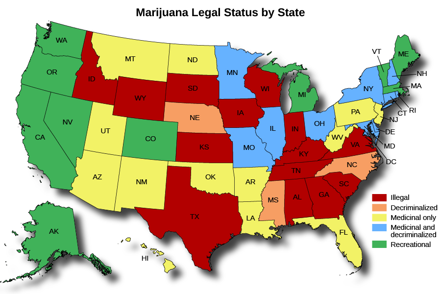 "A map of the Unites States titled ""Marijuana Legal Status by State"". The map shows in which states marijuana is illegal, decriminalized, medicinal only, medicinal and decriminalized, and recreational. Marijuana is illegal in Idaho, Wyoming, South Dakota, Kansas, Texas, Iowa, Wisconsin, Indiana, Kentucky, Tennessee, Alabama, Georgia, Virginia, and South Carolina. Marijuana is decriminalized in Nebraska, Mississippi, and North Carolina. Marijuana is medicinal only in Montana, Utah, Arizona, New Mexico, North Dakota, Oklahoma, Arkansas, Louisiana, Florida, West Virginia, Pennsylvania, and New Jersey. Marijuana is medicinal and decriminalized in Minnesota, Missouri, Illinois, Ohio, New York, Delaware, Maryland, the District of Columbia, New Hampshire, Connecticut, and Rhode Island. Marijuana is recreational in Washington, Oregon, California, Nevada, Alaska, Colorado, Michigan, Vermont, Maine, and Massachusetts."