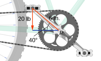 "This figure shows the pedals, cranks, and chain of a bicycle. The distance along the crank to the top pedal is 6 in. The angle of the crank is 40 degrees with the horizontal, measured toward the rear. The top pedal has a downward vector labeled ""20 lb""."