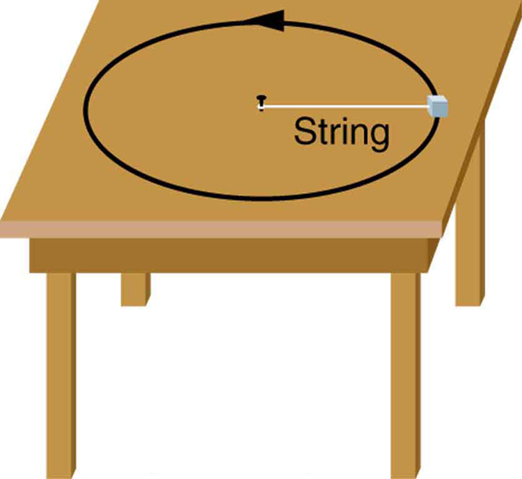 In the figure a table is shown. On the table a mass is attached to a nail at the center with the help of a string. The mass is moving on a circular path in counterclockwise direction.