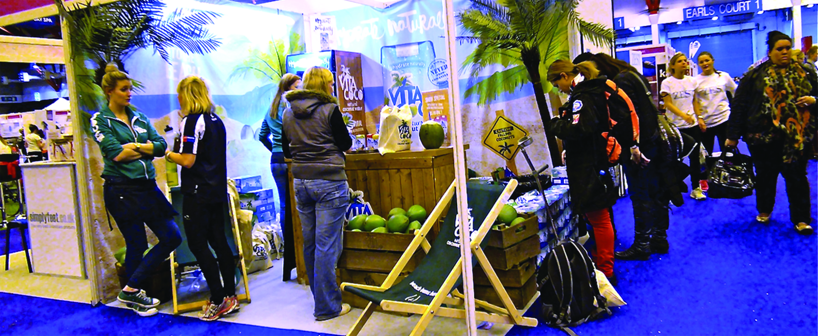 Photo of a Vita Coco booth at a convention.