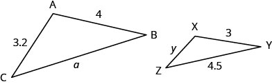The above image shows two similar triangles. Two sides are given for each triangle. The larger triangle is labeled A B C. The length of A to B is 4. The length from B to C is a. The length from C to A is 3.2. The smaller triangle is labeled X Y Z. The length from X to Y is 3. The length from Y to Z is 4.5. The length from Z to X is y.