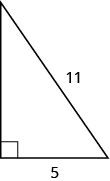 The figure is a right triangle with sides that are 5 units and 11 units.