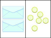 This image has two columns. In the first column are two identical envelopes. In the second column there are six blue circles, randomly placed.
