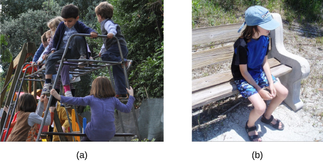 Photograph A shows several children climbing on playground equipment. Photograph B shows a child sitting alone on a bench.