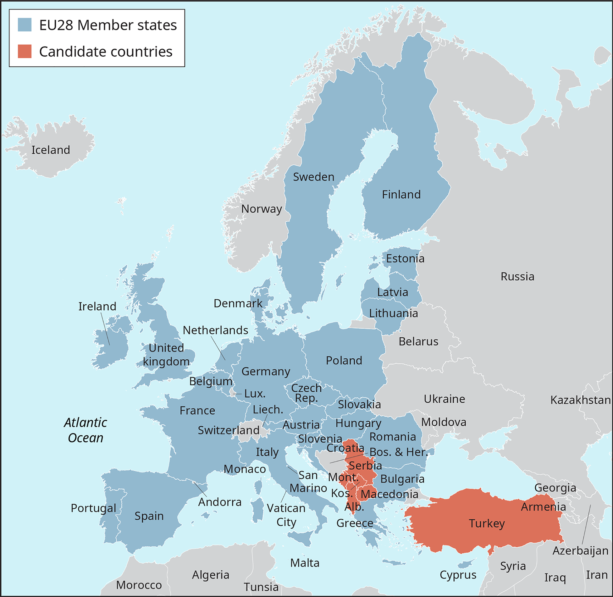 A map of Europe is color coded to show the E U 28 Member States, and those that are candidate countries.