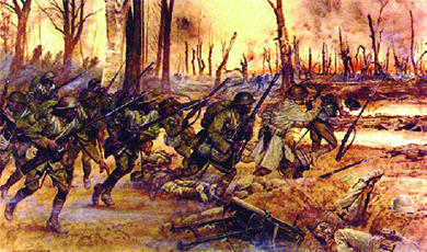 An illustration depicts the 369th Infantry charging the Germans in the woods.