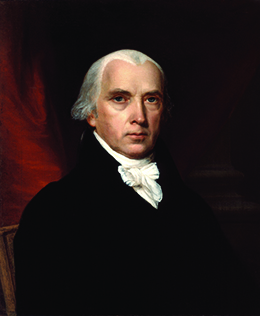 A portrait of James Madison is shown.