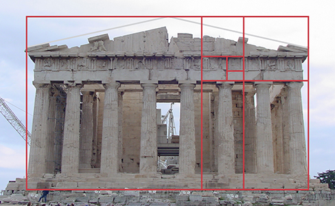 This is a photo of the Parthenon, an ancient Greek temple that was designed with the proportions of the Golden Rule. The entire temple's front side fits perfectly into a rectangle with those proportions, as do the columns, the level between the columns and the roof, and a portion of the trim below the roof.